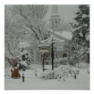 Woodstock Town Square Winter Poster
