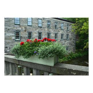 Woodstock, Vermont, caja de la flor del puente Fotografía