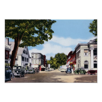 Woodstock Vermont Central Street Poster