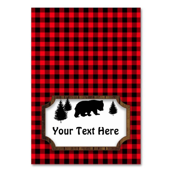 Woodsy Bear Food or Name Folding Table Party Tag Table Number