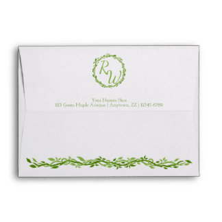 Woodsy Elegance   Wedding Vine 5 x 7 Monogram Envelope