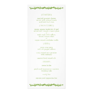 Woodsy Elegance | Wedding Vine Reception Menu
