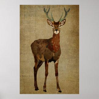 Woodsy Elk Art Poster