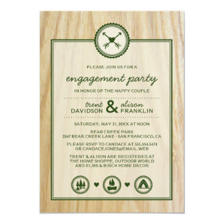 Woodsy Wedding & Glamping Engagement Party Custom Invitations