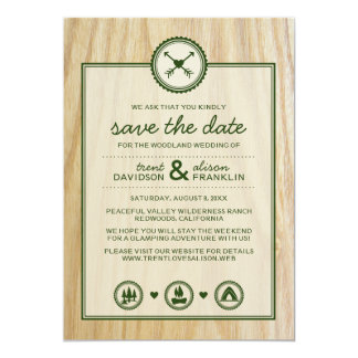 Woodsy Wedding & Glamping Save the Dates Custom Invite
