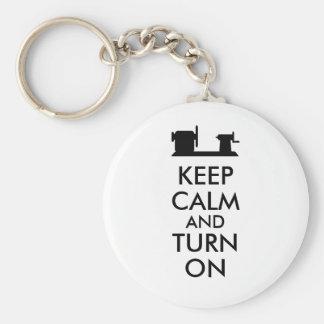 Woodturning Gift Keep Calm and Turn On  Lathe Keychain