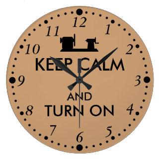 Woodturning Gift Keep Calm and Turn On  Lathe Large Clock