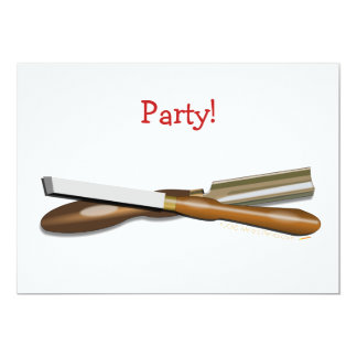Woodturning Tools Crossed Roughing Gouge and Skew 5x7 Paper Invitation Card