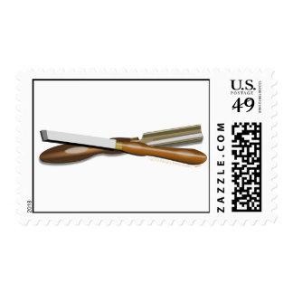 Woodturning Tools Crossed Roughing Gouge and Skew Stamp