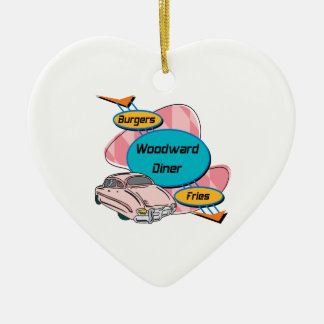 Woodward Diner Woodward Gifts By Gear4gearheads Double-Sided Heart Ceramic Christmas Ornament