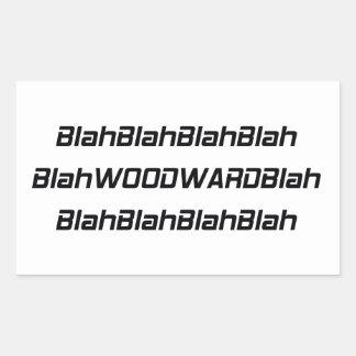 Woodward soso soso pegatina rectangular
