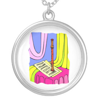Woodwind Instrument and Sheet Music Graphic Round Pendant Necklace
