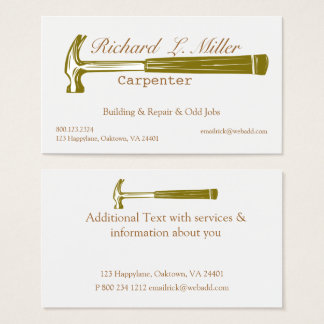 Woodwork Handyman Carpenter Construction Business Card