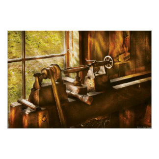 Woodworker - An Old Lathe Poster