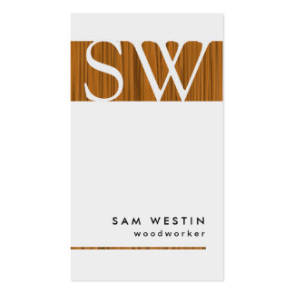 Woodworker Bold Monogram Business Card