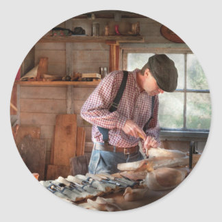 Woodworker - Carving - Carving a duck Classic Round Sticker