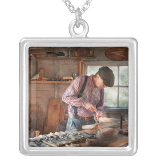 Woodworker - Carving - Carving a duck Silver Plated Necklace