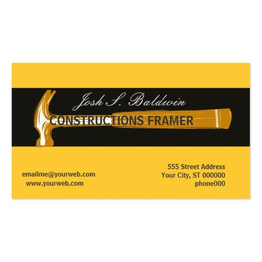 Woodworker Construction Hammer Business Cards