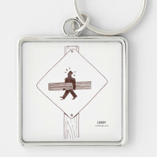 Woodworker Crossing Premium Square Keychain