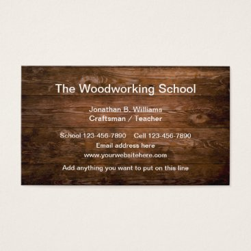 Beach Themed Woodworking School Business Card