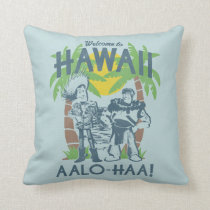 Woody and Buzz - Welcome To Hawaii Throw Pillow