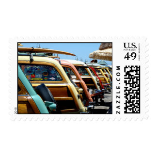 Woody cars, lined up postage