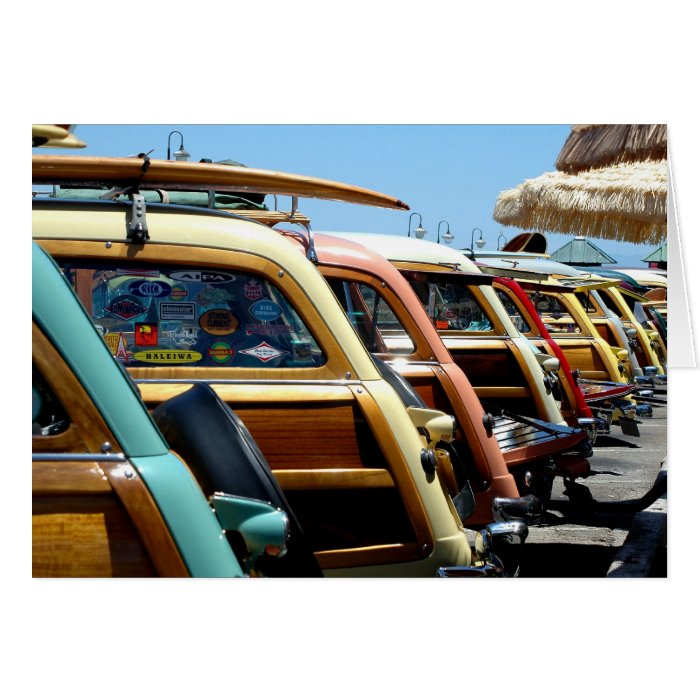 Woody cars on the wharf at Santa Cruz Card