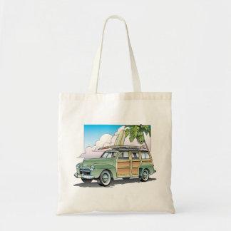 Woody con el bolso de la playa del tablero de bolsa lienzo