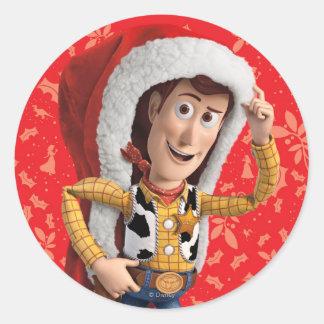Woody en el gorra de Santa Pegatina Redonda