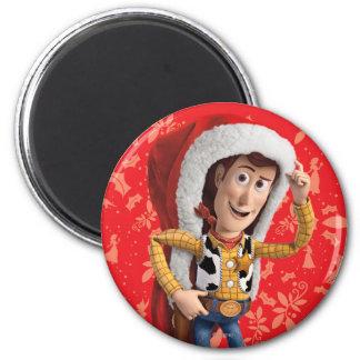 Woody in Santa Hat 2 Inch Round Magnet