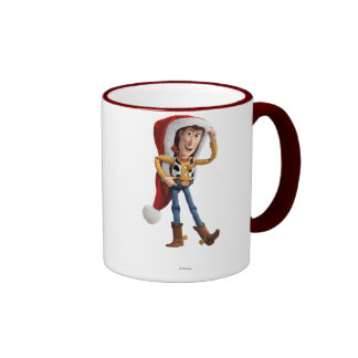 Woody in Santa Hat Ringer Coffee Mug