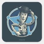 Woody: Insignia del sheriff Pegatina Cuadrada