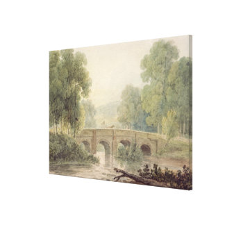 Woody Landscape with a Stone Bridge over a River Canvas Print