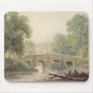 Woody Landscape with a Stone Bridge over a River Mouse Pad
