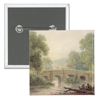 Woody Landscape with a Stone Bridge over a River Pinback Button