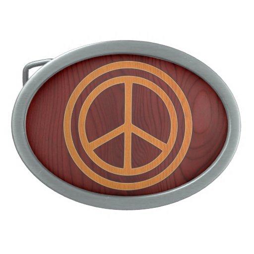 Woody Peace II Oval Belt Buckle
