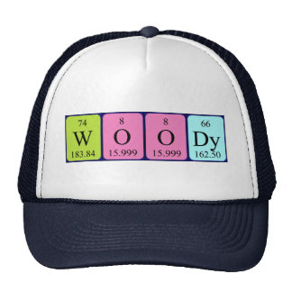 Woody periodic table name hat trucker hat