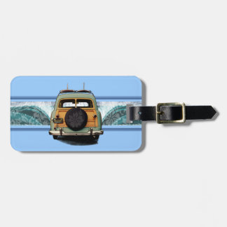 Woody Wave Hawaiian Surf Illustration Bag Tag
