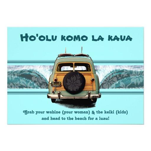 Woody Wave Luau Invitations