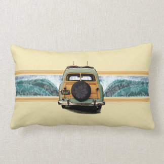 Woody Wave Surfer Hawaiian Lumbar Pillows