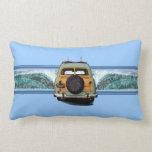 Woody Wave Surfer Hawaiian Lumbar Pillows