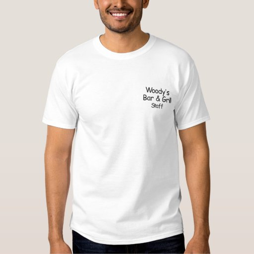 Woody's Bar & Grill            , Staff Embroidered T-Shirt