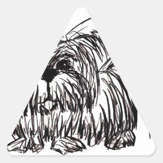 Woof A Dust Mop Dog Triangle Sticker