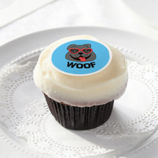 Woof - Bulldog Cupcake Topper Edible Frosting Rounds