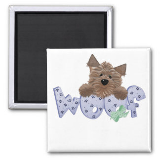 Woof Dog Blue Tshirts and Gifts 2 Inch Square Magnet