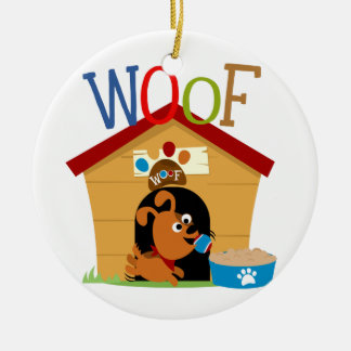 Woof Dog Double-Sided Ceramic Round Christmas Ornament