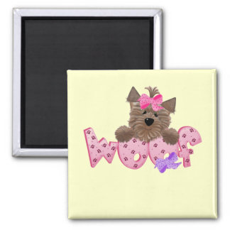 Woof Dog Pink Tshirts and Gifts 2 Inch Square Magnet