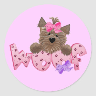 Woof Dog Pink Tshirts and Gifts Classic Round Sticker