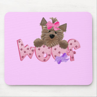 Woof Dog Pink Tshirts and Gifts Mouse Pad