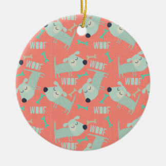 Woof Dogs and Bones Double-Sided Ceramic Round Christmas Ornament